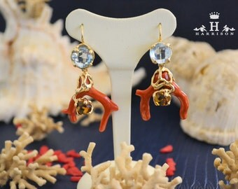 Beautiful handmade earrings with Blue Topaz and yellow and Red coral in the Mediterranean