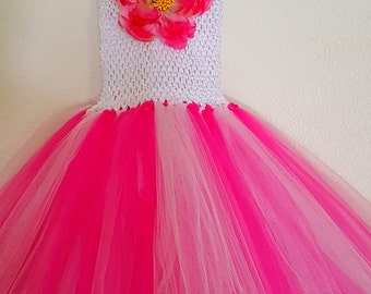 Pink Tutu Dress with Large Flower