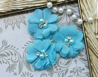 Blue Petite Chiffon Flower with Diamond and Beads Center