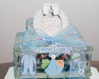 Baby Boy Gift, 35 Blue Lights, Unique, Large Glass Block, One Of A Kind