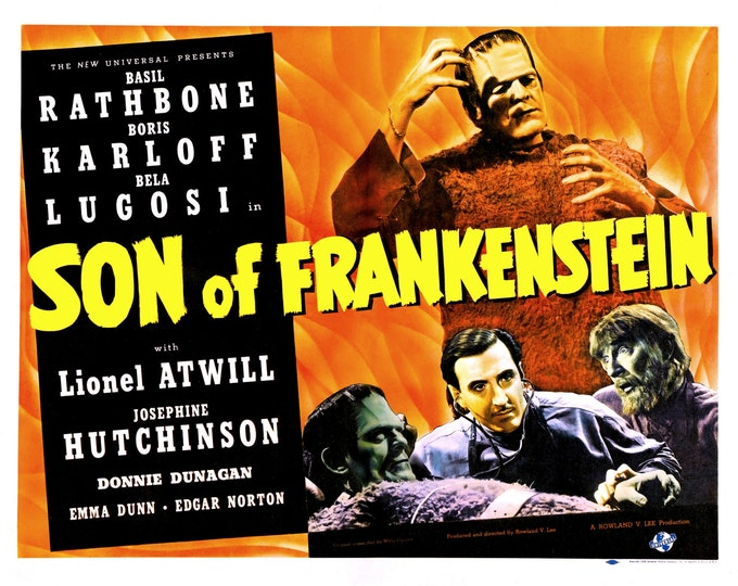 """Lobby Card From the Film """"Son of Frankenstein"""" Starring Basil Rathbone and Boris Karloff (Reproduction) - 8X10 or 11X14 Photo (MP-010)"""