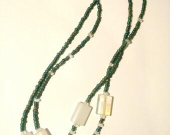 Translucent Glass & Quartz 2-strand necklace