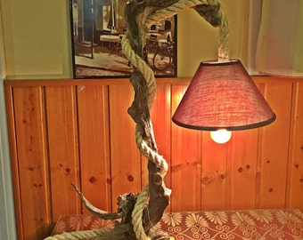 Unique Driftwood light table wooden lamp / driftwood lamp / rope lamp / driftwoods / Rustic home decor