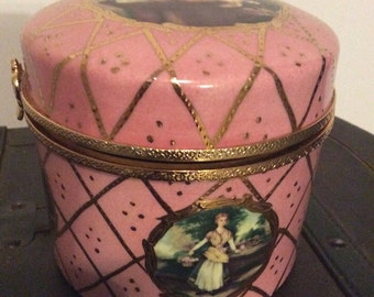 Small box Limoges china pink and gold