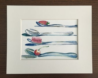 Hand Painted spoons with fruit and macaron in watercolor, 6x8