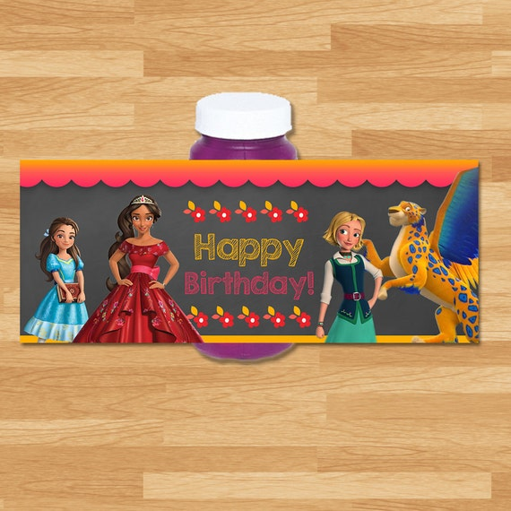 Elena of Avalor Bubble Label - Chalkboard - Elena Bubble Bottle Wrap - Disney Princess Bubbles - Elena of Avalor Printable Party Favors