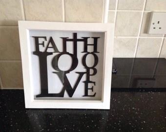 Faith hope love phrase in frame