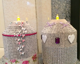 Candle holders, folded book art for battery candles