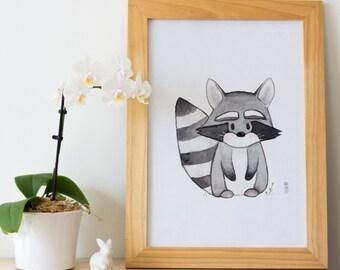 Racoon - Woodland Animal Nursery Print