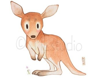 Kangaroo - Australian Animal Nursery Watercolour Print