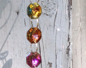 1 Strand Multi-Color Iridescent Suncatcher finished with a 38mm Purple Crystal