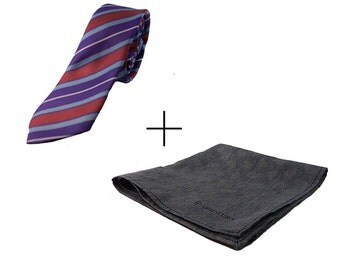 Package red striped tie and grey scarf
