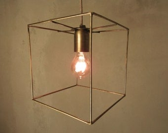 Minimal Cubic Cage Pendant Light Industrial