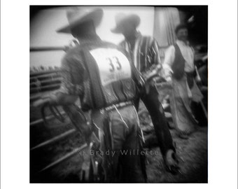 Rodeo-33 Square Print of 3 Cowboys in Rodeo Chutes