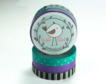 Washi Tape Set - Aqua, Purple, Black and White Stripe Washi Tape Set, 10mm x 10m