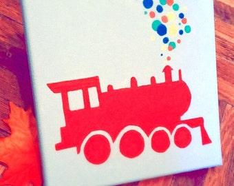 Hand Painted Red Choo Choo Train