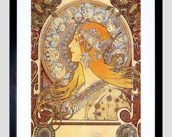 Painting Mucha Zodiac 1896 Old Master Art Print Poster Repro FE127OM