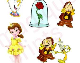 beauty and the beast stickers, disney princess clipart, disney princess, belle stickers, disney stickers, disney stamps, digital prints.
