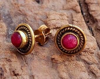 Rubi Earrings // Rubi Post Earrings // Rubi Stud Earrings // Red Post Earrings // Red Studs // Brass Ear Stud // Brass Ear Posts