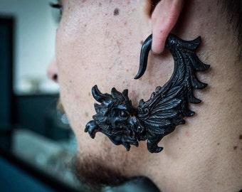 Hand Carved  Ear Gauge Plugs Earrings Black Dragon Gauged Piercing 1g 7mm