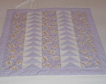 Unique Handmade Patchwork Heirloom Cot Quilt - Teddy Bears