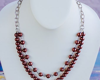Double stand Brown Necklace