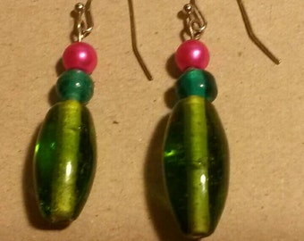 Bright pink, blue, and green glass bead homemade dangle earrings