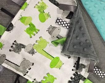 Giraffe Minky Baby Tag Blanket // Security Blanket // Ribbon Blanket // Teething Blanket