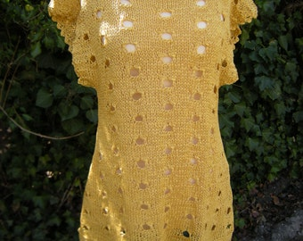Tunic shirt situation look layering yellow knit tunic yellow Gr. 38/40