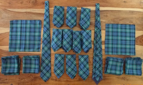 Made to order handkerchiefs/pocket squares in tartan of your choice. Minimum order of 9.