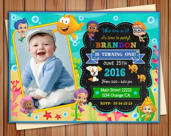 Bubble Guppies party photo invitation for boy, Bubble Guppies digital chalkboard invitation, thank you card free! print it yourself!