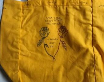 Tote bag -Yellow - Roses/poem -Love 1 Love 2 Love 3 Love 4Eva