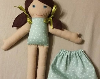 """13"""" tall cloth doll, with removable skirt."""