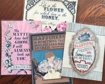Limited Edition Double-sided Vintage Style Laminated Bookmarks - 4 Quotes, Classic Backgrounds!