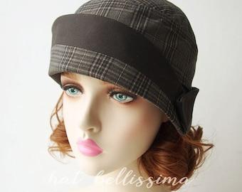 Dark grey  1920s Cloche Hat Vintage Style hat hatbellissima