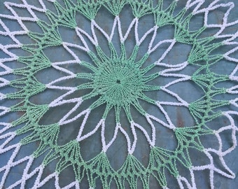 Green and White Doily