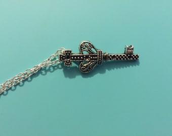 Silver Mini King's Crown Key Necklace