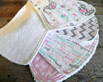 Baby Girl Burp Cloths, Set of 4