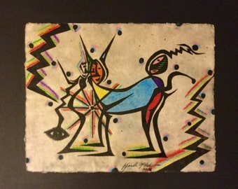 Watercolor & Ink Painting of Abstract Figures on Handmade Paper