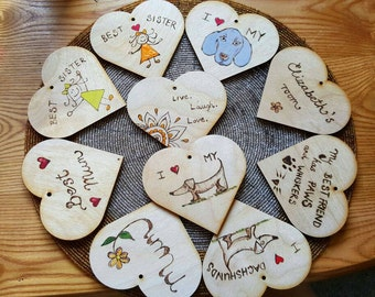 10cm wooden hearts with personalised text