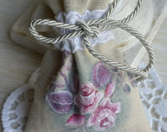 Linen lavender sachet, hand painted roses in pink and fuchsia