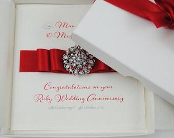 Luxury Ruby Wedding Anniversary Card //  40th Wedding Anniversary Card // Gift Boxed Card // Handmade Anniversary Card