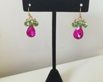 Hot Pink and Green Drop  Earrings