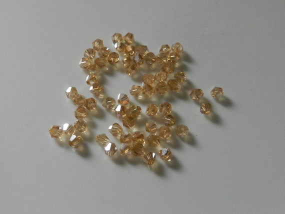 4mm Rondelle Faceted  Champagne Gold Glass Loose  Beads V5324