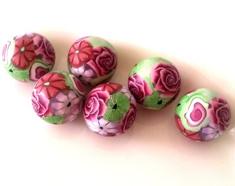Polymer clay beads, rose,