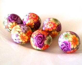 6 beads, polymer clay beads, Summerflowers, Millefiori, colorful floral,.