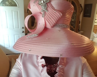 Pink Satin Ribbon Church Hat