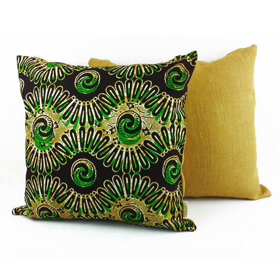 green brown tribal cotton linen pillow cover yellow. Black Bedroom Furniture Sets. Home Design Ideas