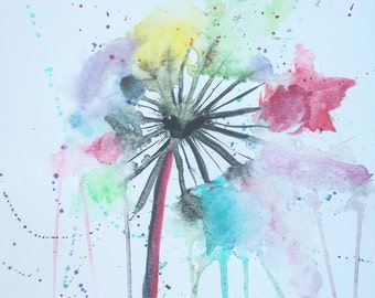Abstract watercolor Wishing Flower