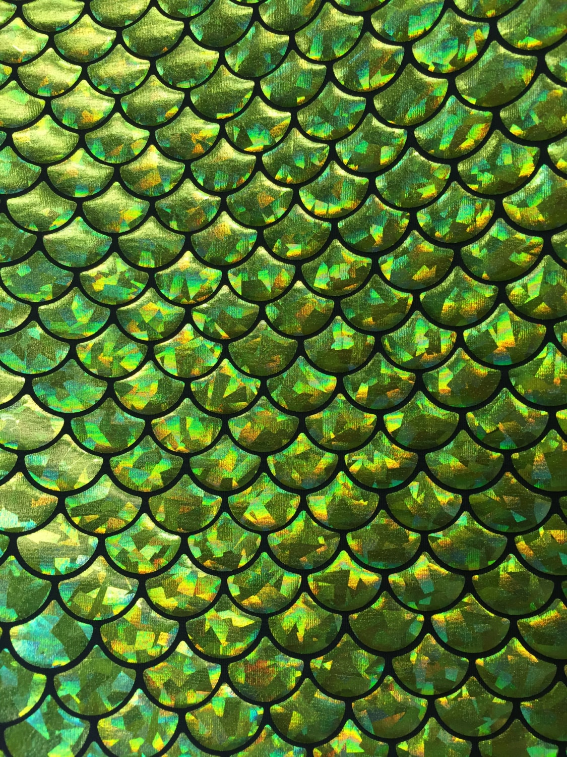 4way Stretch Mermaid Fish Scales Spandex Lime Green Foil